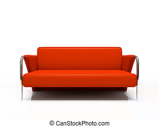 sofa, moderne, isolé, fond, blanc rouge