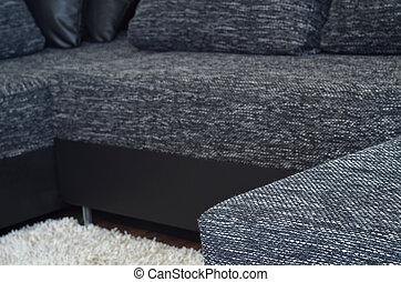 sofa, moderne, tissu, closeup, noir, blanc, vue