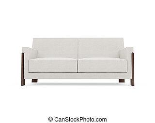 sofa, na, białe tło