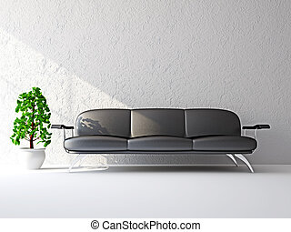 Sofa near the white wall