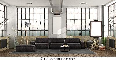sofa, noir, grenier