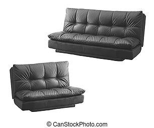 sofa, nowoczesny, czarnoskóry, odizolowany