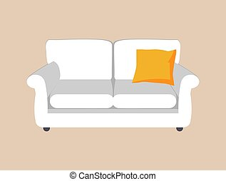 Sofa of White Color and Pillow Vector Illustration - Sofa of...