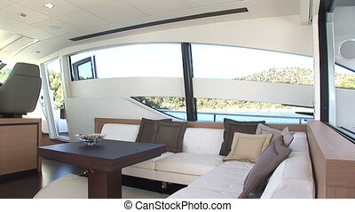 Sofa on luxury yacht