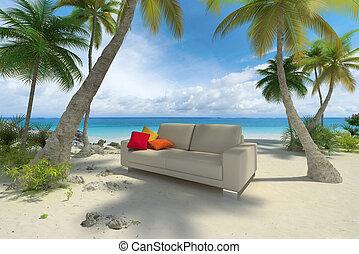 Sofa on the beach