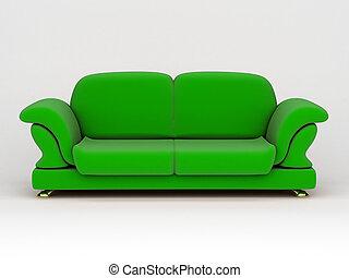 sofa, op wit, achtergrond