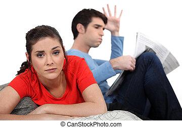 sofa, paar, haben, argument