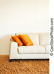 Sofa part - Part of white leather sofa with pillows