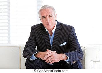 sofa, personne agee, homme affaires, charismatic, séance