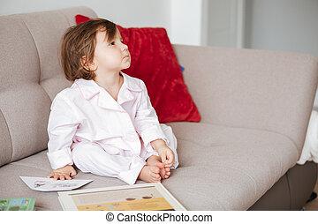 sofa, petit enfant, séance
