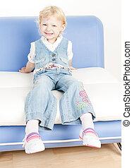 sofa, petite fille, séance