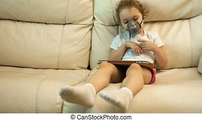 sofa, peu, inhalateur, girl
