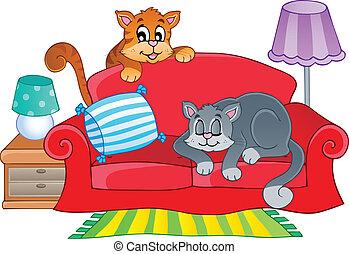 sofa, poezen, twee, rood, spotprent