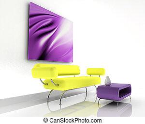 sofa, render, 3d