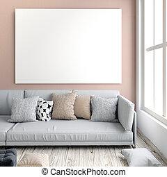sofa., room., beffare, interno, place., riposare, su, manifesto, vivente, 3d, moderno, style., illustrazione