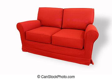 sofa, rotes