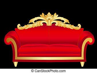 sofa, rouge noir, modèle