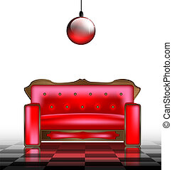 sofa, rouges