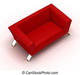 sofa, rouges