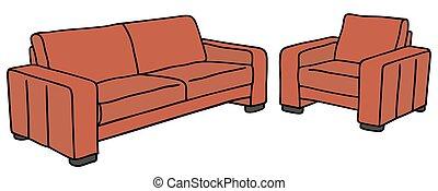 sofa, rouges, fauteuil