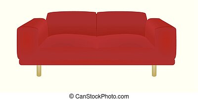 sofa, rouges, lit