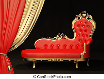 sofa, royal, frame., or, curtain.