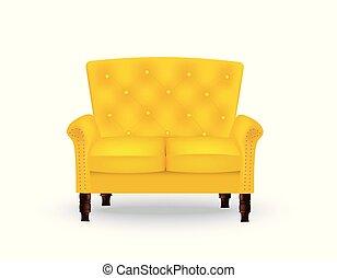 sofa, royal, jaune