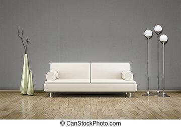 sofa, salle, plancher