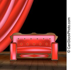 sofa, salle, rouges
