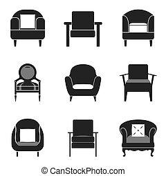 sofa, set., icône