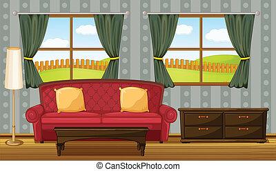 sofa, side, rød tabel