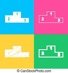Sofa sign illustration. Flat style icon. Four styles of icon on four color squares.