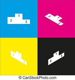 Sofa sign illustration. Flat style icon. Vector. White icon with isometric projections on cyan, magenta, yellow and black backgrounds.