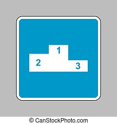 Sofa sign illustration. Flat style icon. White icon on blue sign