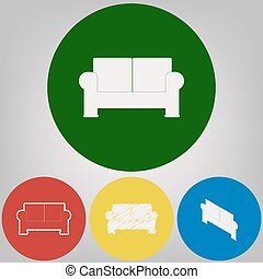 Sofa sign illustration. Vector. 4 white styles of icon at 4 colored circles on light gray background.