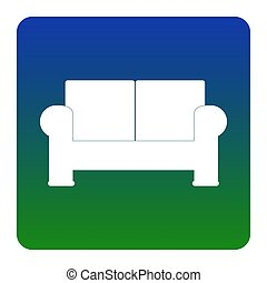 Sofa sign illustration. Vector. White icon at green-blue gradient square with rounded corners on white background. Isolated.