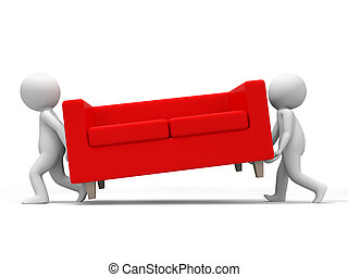 Sofa - Two people carried a sofa