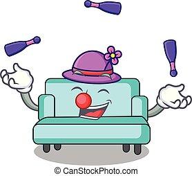 sofa, style, mascotte, dessin animé, jonglerie
