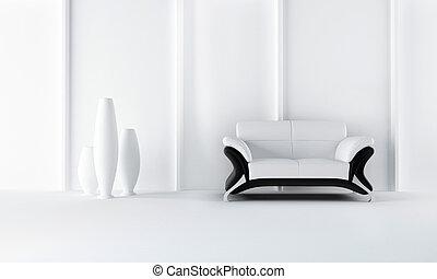 sofa, style, moderne, noir, blanc