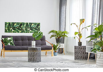 Sofa surruonded by plants