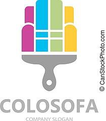 sofa, symbole, créatif, peinture, vecteur, gabarit, design., logo, meubles, ou, icône
