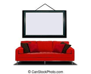 sofa, ułożyć, czerwony, obraz