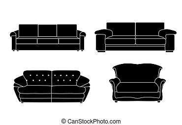 sofa, vecteur, ensemble, illustration, icône