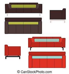 sofa, vecteur, ensemble, illustration, plat