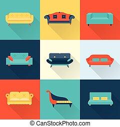 sofa, vecteur, icônes