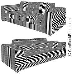 sofa, vecteur, moderne, 25.eps