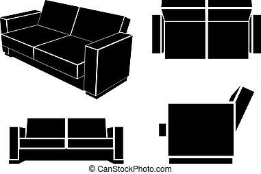 sofa, vecteur, moderne, divan
