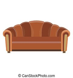 Sofa vector icon room illustration color design flat furniture element retro style modern shape soft