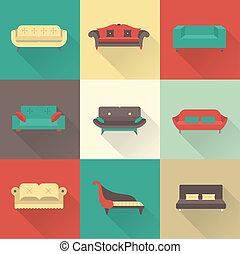 sofa, vector, iconen