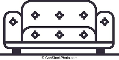 sofa vector line icon, sign, illustration on background, editable strokes